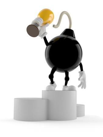 Bomb character on podium holding trophy isolated on white background. 3d illustration Stock Photo