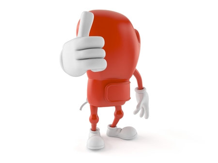 Boxing glove character with thumbs up gesture isolated on white background. 3d illustration Stock Photo