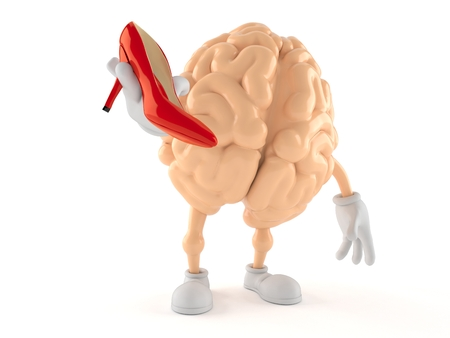 Brain character holding high heel isolated on white background. 3d illustration Stock Photo