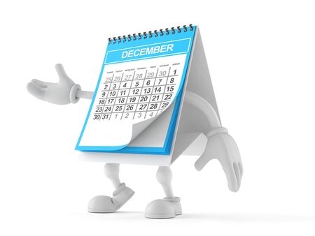 Calendar character isolated on white background. 3d illustration