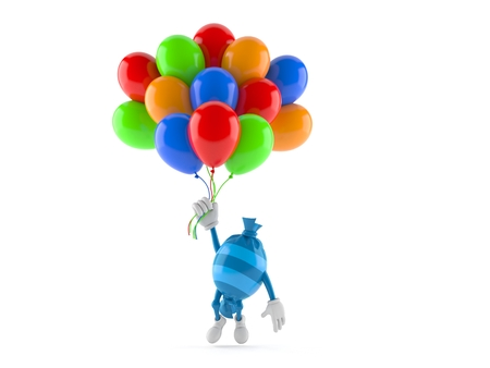 Candy character flying with balloons isolated on white background. 3d illustration