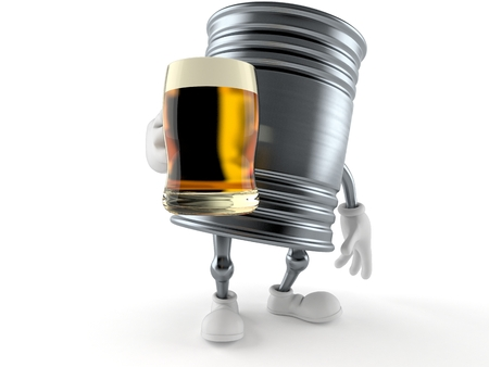 Food can character holding beer glass isolated on white background. 3d illustration