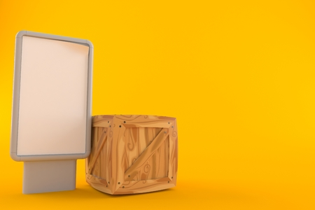 Crate with blank billboard isolated on orange background. 3d illustration Stock Photo