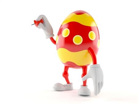 Easter egg character holding thumbtack isolated on white background. 3d illustration