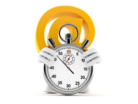 E-mail character with stopwatch isolated on white background. 3d illustration