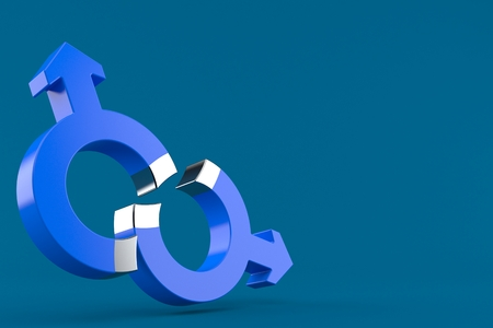 Gay magnetism concept isolated on blue background. 3d illustration