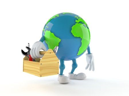World globe character holding toolbox isolated on white background. 3d illustration