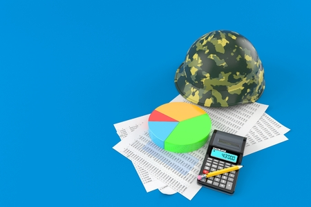 Military helmet with documents and calculator isolated on blue background. 3d illustration