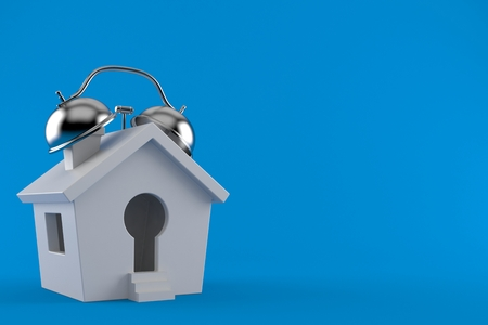 Small house with alarm clock isolated on blue background. 3d illustration