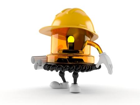Emergency siren character holding blueprints isolated on white background. 3d illustration