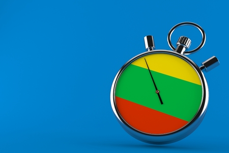 Stopwatch with lithuanian flag isolated on blue background. 3d illustration