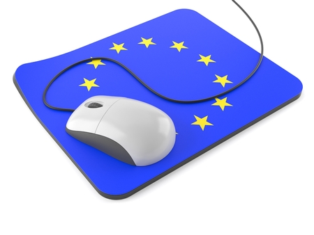 Computer mouse with mouse pad in european union flag isolated on white background. 3d illustration Stock Photo