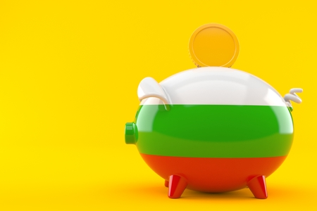 Piggy bank with bulgarian flag isolated on orange background. 3d illustration