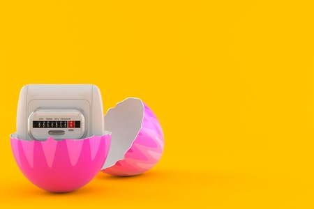 Electricity measure inside easter egg isolated on orange background. 3d illustration Stock Photo