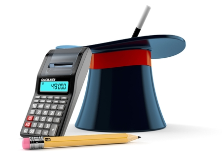 Magic hat with calculator and pencil isolated on white background. 3d illustration Stock Photo