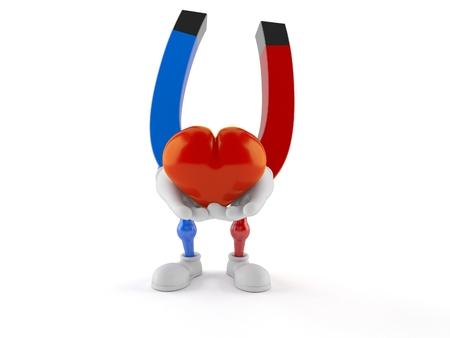 Horseshoe magnet character holding heart isolated on white background. 3d illustration