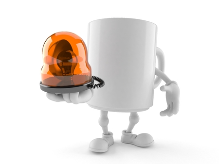 Mug character holding emergency siren isolated on white background. 3d illustration Stock Photo