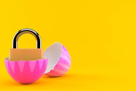 Padlock inside easter egg isolated on orange background. 3d illustration