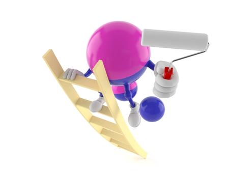 Paintball character on ladder holding roller paint isolated on white background. 3d illustration Reklamní fotografie