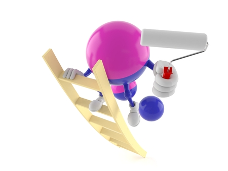 Paintball character on ladder holding roller paint isolated on white background. 3d illustration Stock Photo
