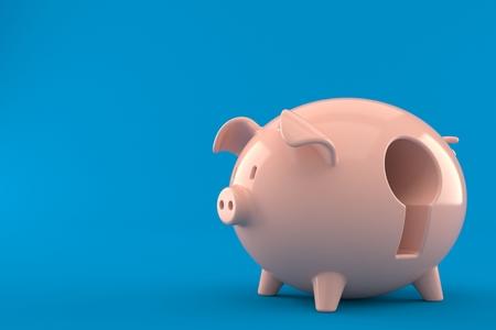 Piggy bank with key hole isolated on blue background. 3d illustration