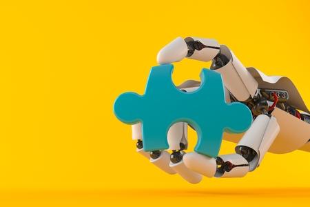 Robot hand with jigsaw puzzle isolated on orange background. 3d illustration Stock Photo