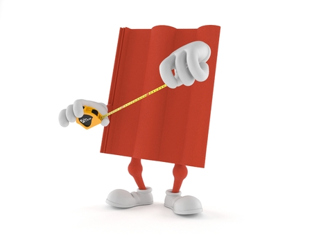 Roof tile character holding measuring tape isolated on white background. 3d illustration