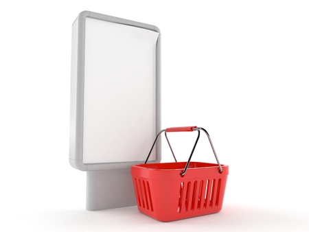 Shopping basket with blank billboard isolated on white background. 3d illustration Stock Photo
