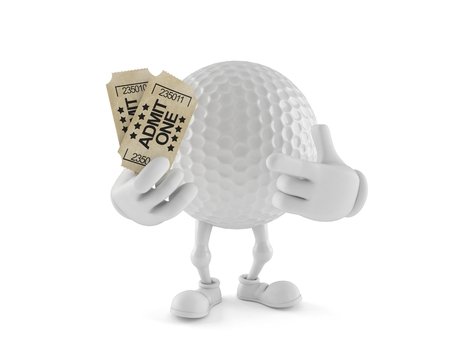 Golf ball character holding tickets isolated on white background. 3d illustration