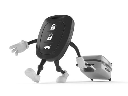 Car remote key character with suitcase isolated on white background. 3d illustration