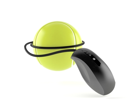 Tennis ball with computer mouse isolated on white background. 3d illustration