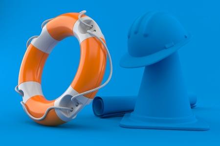 Under construction background with life buoy in blue color. 3d illustration Standard-Bild - 121377722