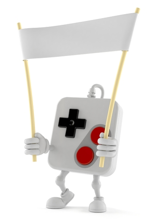 Gamepad character holding blank banner isolated on white background. 3d illustration