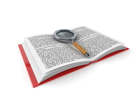 Magnifying glass on open book isolated on white background. 3d illustration