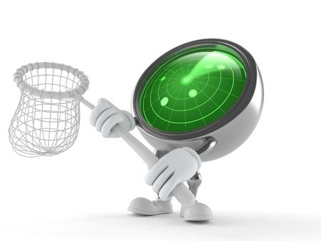 Radar character holding net isolated on white background. 3d illustration