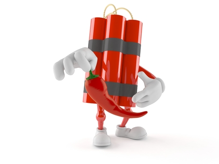 Dynamite character holding hot pepper isolated on white Stock Photo