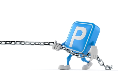Parking symbol character pulling chain isolated on white Imagens - 121829454