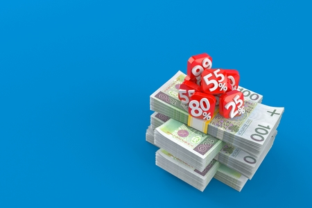 Percent numbers on stack of money isolated on blue background. 3d illustration
