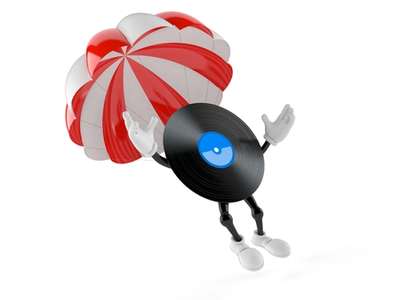 Vinyl character with parachute isolated on white background. 3d illustration Stock Photo