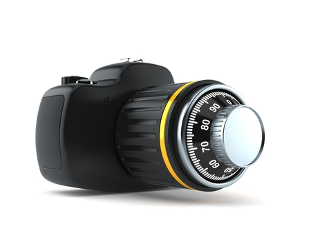 Camera with combination lock isolated on white background. 3d illustration Reklamní fotografie