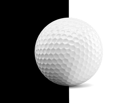 Golf ball on black and white background. 3d illustration