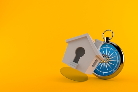 Small house with compass isolated on orange background. 3d illustration
