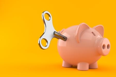 Sparschwein mit Uhrwerkschlüssel auf orangem Hintergrund isoliert. 3D-Darstellung