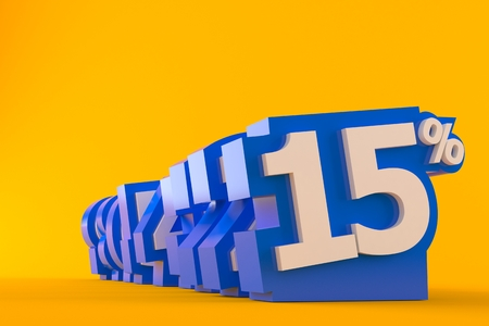 Numbers with percent isolated on orange background. 3d illustration