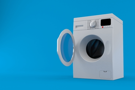 Open washing machine isolated on blue background. 3d illustration