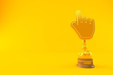 Cursor golden trophy isolated on orange background. 3d illustration