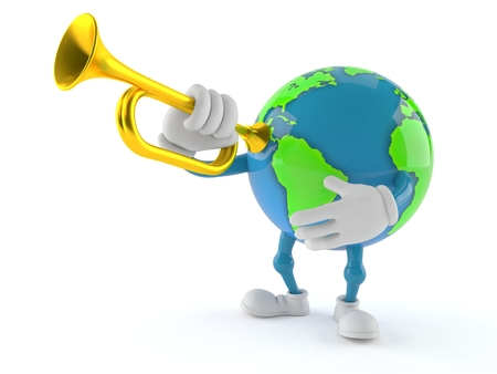 World globe character playing the trumpet isolated on white background. 3d illustration