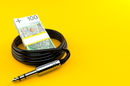 Polish currency with audio cable isolated on orange background. 3d illustration