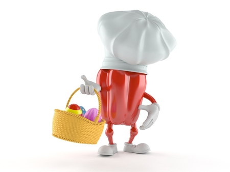 Red pepper character holding basket with easter egg isolated on white background. 3d illustration Stockfoto