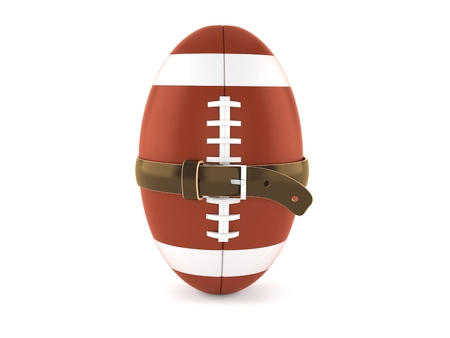 Rugby ball with tight belt isolated on white background. 3d illustration Stockfoto
